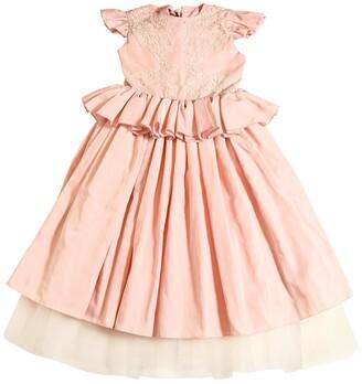 Rhea Costa Taffeta & Macrame Lace Long Party Dress