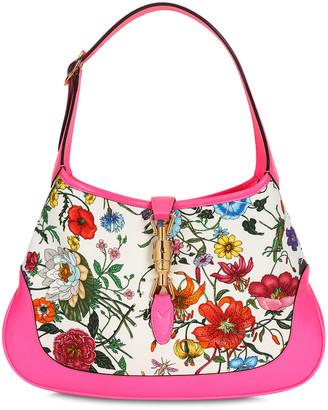 Gucci Jackie Flora fuchsia hobo bag
