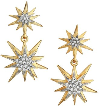 Kenneth Jay Lane 22K Goldplated Glass Crystal Star Drop Earrings