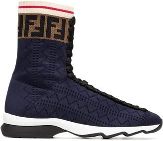 Fendi Rockoko Fabric Hi-Top Sneakers