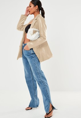 Missguided Stone Faux Leather Oversized Blazer