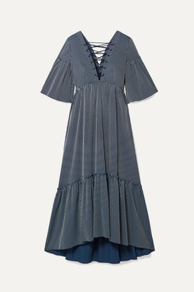 La Ligne La Boheme Lace-up Striped Cotton-blend Maxi Dress - Navy