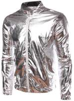 Idopy Men`s Gold Metallic Coating Nightclub Zip Up Jacket L