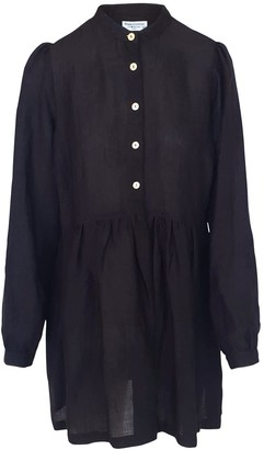 Haris Cotton Mini Linen-Blend Dress With Front Buttons - Black
