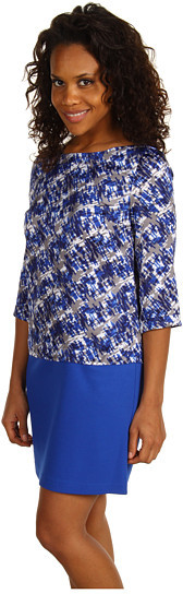 Anne Klein Colorblock Abstract Print Dress