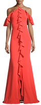 Marchesa Cold-Shoulder Stretch Crepe Ruffle Gown, Tangerine