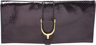 Gucci Metallic Python Leather Stirrup Clutch