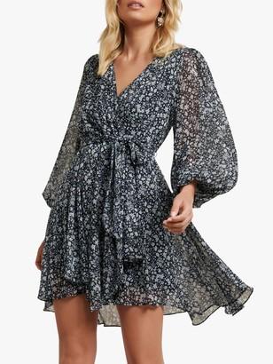 Forever New Mariana Ditsy Print Flared Mini Dress, Navy/White