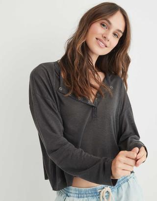 aerie Linen Breezy Henley T-Shirt