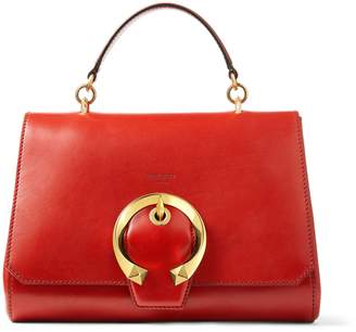 Jimmy Choo MADELINE TOPHANDLE Red Calf Leather Top Handle Bag with Metal Buckle