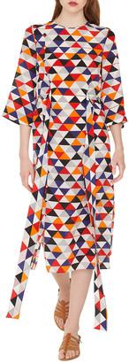 Akris Elbow-Sleeve Diamond-Print Silk Crepe Midi Dress with Tie-Waist Detail