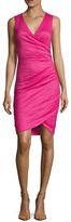 Nicole Miller Cotton Metallic Ruched Sheath Dress
