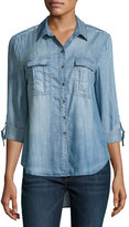 Velvet Heart Eliya Chambray High-Low Top, Blue