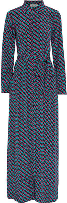 Diane von Furstenberg Amina Printed Silk Crepe De Chine Maxi Shirt Dress