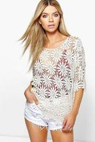 Boohoo Polly Floral Crochet Short Sleeve Top