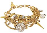 VICKISARGE Women's Punk Swarovski Crystals and Faux Pearls 23ct Gold Plated Multi Strand Bracelet of Length 21.5cm
