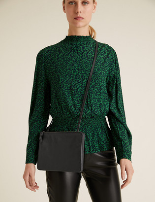 Marks and Spencer Leather Double Zip Cross Body Bag