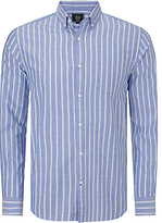 John Lewis Long Sleeve Wide Stripe Oxford Shirt, Cobalt Blue