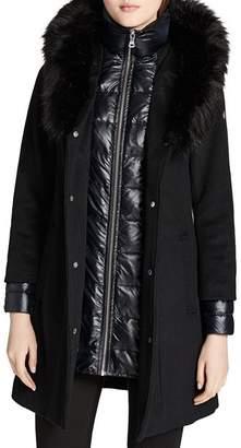 Calvin Klein Faux Fur Trim Mixed Media Coat