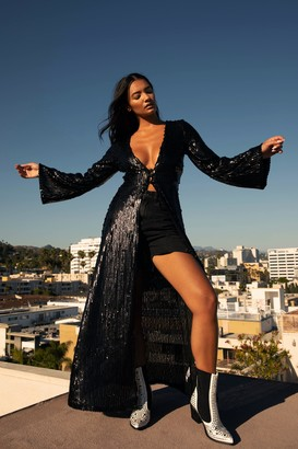 Nasty Gal Womens See You at the Disco Sequin Longline Top - Black - 6