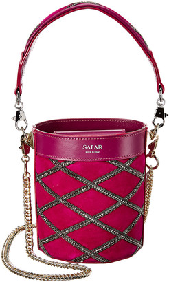 Salar Milano Celia Strass Leather & Suede Bucket Bag