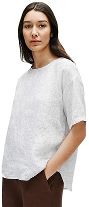Eileen Fisher Jewel Neck Elbow Sleeve Box Top (White) Women's Clothing