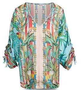 Johnny Was Capri Floral Print Silk Blouse