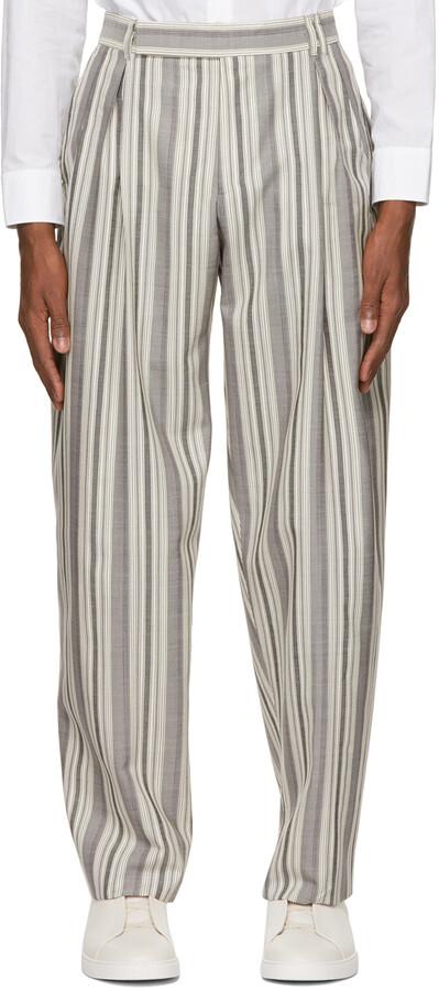 Thumbnail for your product : Ermenegildo Zegna Couture Grey & Off-White Silk & Mohair Stripe Trousers