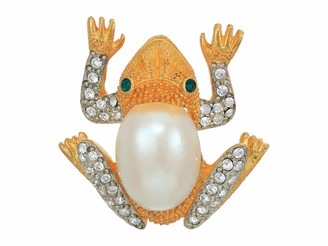 """Kenneth Jay Lane 2""""X1.5"""" Frog Pin Gold/Crystals/Emerald/Pearl One Size"""