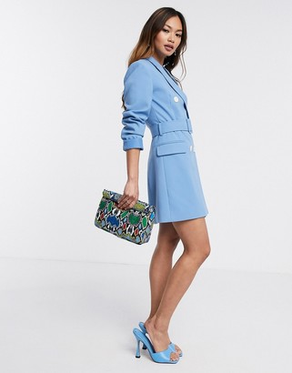 Stradivarius double breasted blazer dress in aqua blue (joinlife)