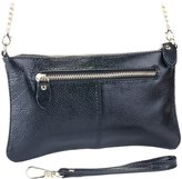 SupplyKick Women's Leather Crossbody Sling Bag, Clutch, Wallet, Purse, Handbag (Onyx Black)