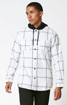 Modern Amusement Plaid Flannel Hooded Long Sleeve Button Up Shirt