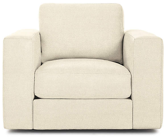 Design Within Reach Reid Swivel Armchair, Offwhite Fabric
