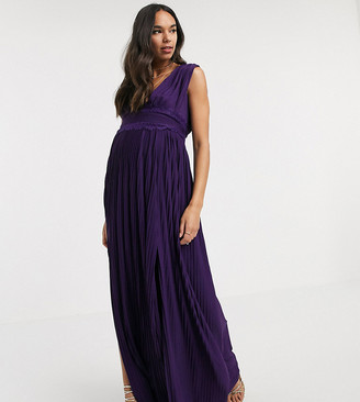 ASOS DESIGN Maternity premium lace insert pleated maxi dress