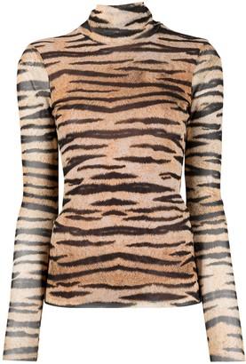 Baum und Pferdgarten Tiger Print Roll-Neck Top