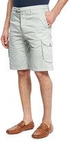 Kiton Menswear Stretch-Cotton Cargo Shorts, Stone Gray