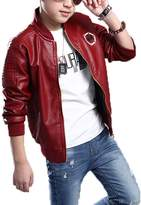Monvecle Big Boy's Trendy Stand-Collar PU Leather Moto Jacket Coat 7-8 Years
