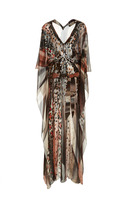 Roberto Cavalli Embellished Printed Chiffon Gown