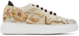 By Walid Beige Embroidered Sneakers