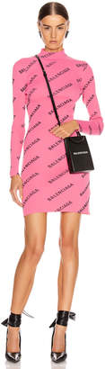 Balenciaga Long Sleeve Rib Short Dress in Lipstick Pink & Black | FWRD