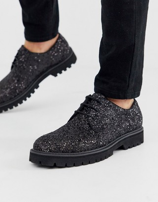ASOS DESIGN lace up shoes in black glitter with chunky sole