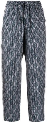 Pierre Louis Mascia Silk Drawstring Geometric Trousers