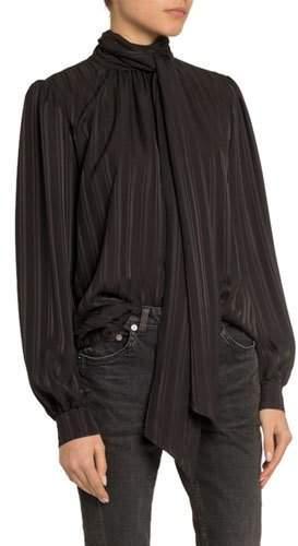79b107d63 Striped Tie Neck Blouse - ShopStyle