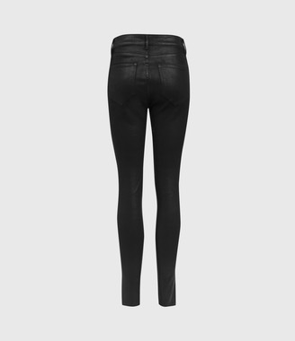 AllSaints Miller Mid-Rise Ministud Superstretch Skinny Jeans, Coated Black