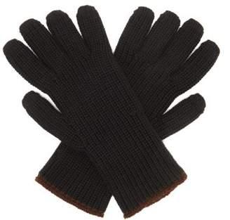 Margaret Howell Circular Knitted Merino Wool Gloves - Womens - Black Brown