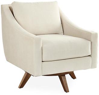 One Kings Lane Nash Swivel Chair - Pearl Chenille