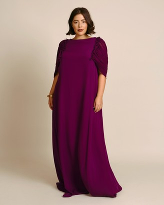 Reem Acra Column Kaftan With Draped Caped Sleeves