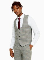 TopmanTopman Grey Stone Check Skinny Fit Suit Waistcoat