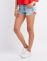 Charlotte Russe Embroidered Trim Cut-Off Denim Shorts