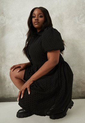 Missguided Plus Size Black Dobby Puff Sleeve Smock Dress